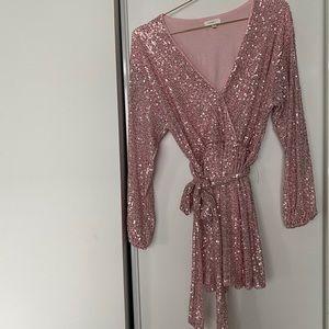 Pink Sequins dress with belt